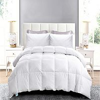 White Goose Feather Twin Comforter + 2 Feather Quilted Bed Pillows