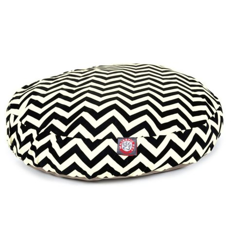 Majestic Pet Round Pet Bed, Black Chevron (Choose Your Color & Size)