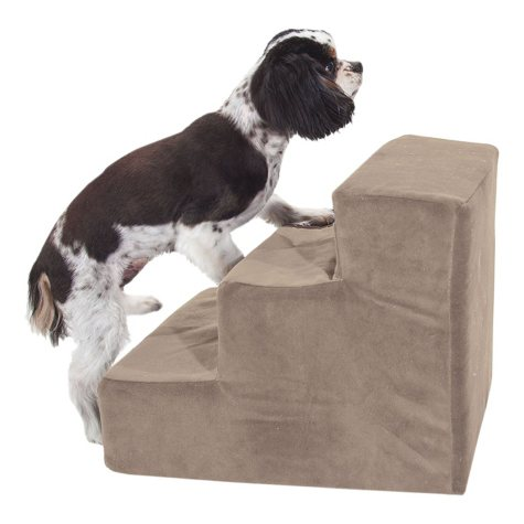 Majestic Pet 3-Step Suede Portable Pet Stairs, Stone
