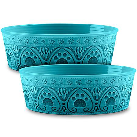 Life Happens Medallion Paw Print Pet Bowl, 2 Pack (Choose Your Size & Color)