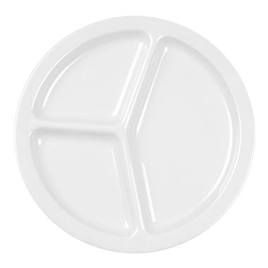 Milan Melamine 3-Compartment Plate, White - 10