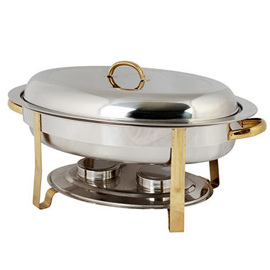 stainless steel gold accented oval chafer 6 qt