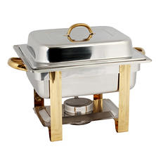 Stainless Steel Gold Accented Chafer - 4 qt.