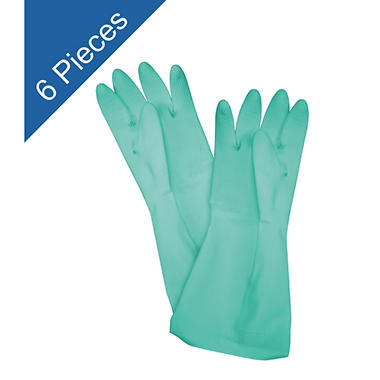 Latex Gloves - Green - Large - 6 Pair