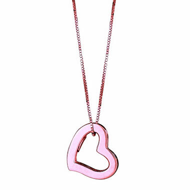 14K Pink Gold Hollow Heart Pendant on a 20