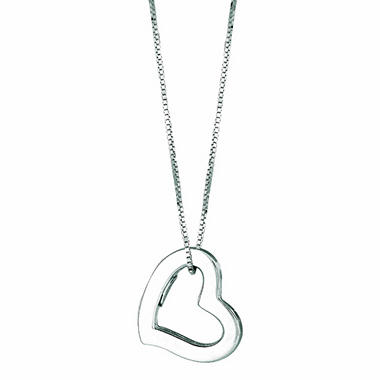 14K White Gold Hollow Heart Pendant on a 16