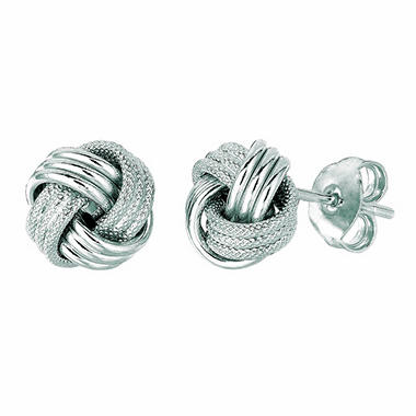 14K White Gold Textured and Polished Italian Knot Post Earring