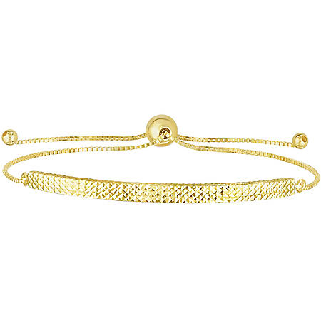 14K Yellow Gold Diamond Cut Bar Bolo Bracelet