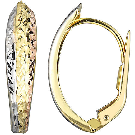 14K Gold Tri Color Diamond Cut Huggie Earrings