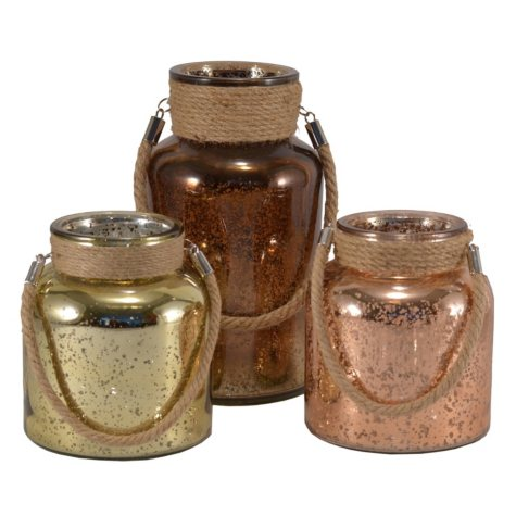 3-Piece Mercury Glass Canisters with LED Lights