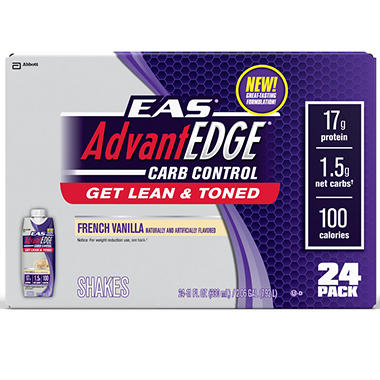 EAS AdvantEDGE Carb Control Ready-to-Drink Shake, Vanilla - 24 pk.