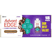 EAS AdvantEDGE Ready-to-Drink Protein Shake, Chocolate Fudge (18 ct.)