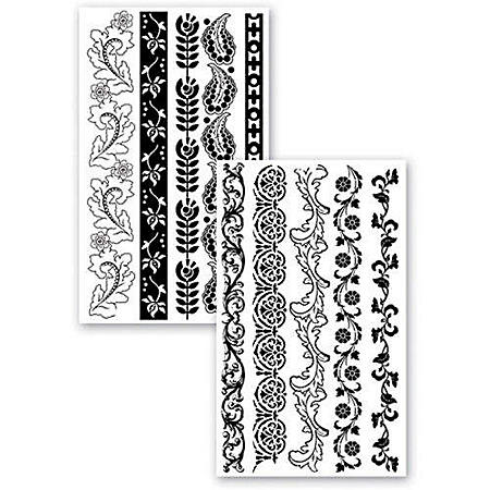 Stampology Half Sheet Clear Stamps - Floral Border