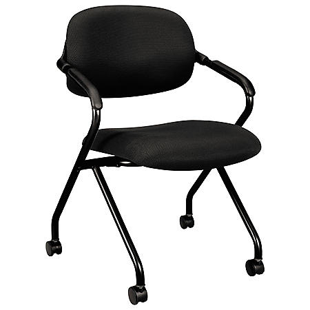 HON VL303 Series Nesting Arm Chair, Black/Black