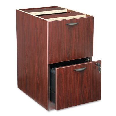 Basyx By HON   BL Laminate Pedestal 2 Drawer File Cabinet, Mahogany (15