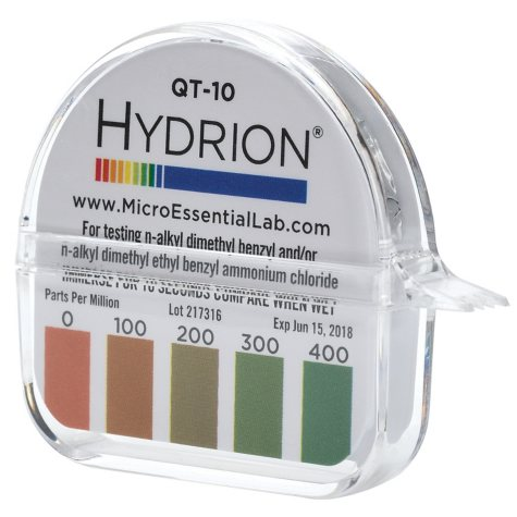 Hydrion QT-10 Quat Test Paper (0-400 PPM)