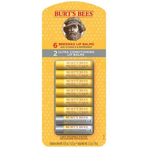 Burt's Bees 100% Natural Moisturizing Lip Balm, Original Beeswax & Ultra Conditioning (0.15 oz., 8 ct.)