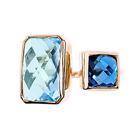 Dual Square Blue Topaz Open Ring in 14k Yellow Gold