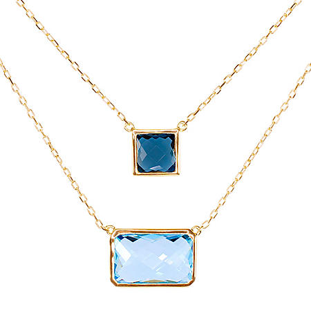 Two Layer Blue Topaz Necklace in 14K Yellow Gold