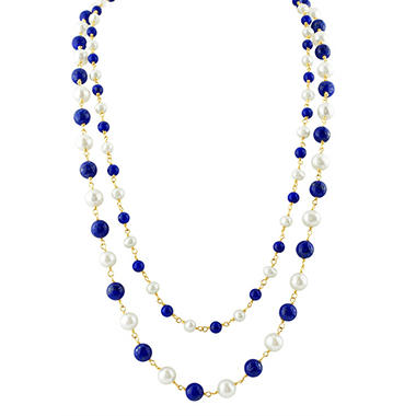 Freshwater Pearl and Lapis Two Row Necklace in 14K Yellow Gold
