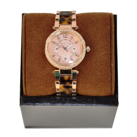 Ladies Parker Watch in Tortoise Acetate and Rose Gold Tone Stainless Steel by Michael Kors