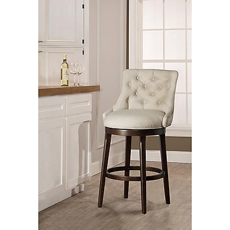 Kinsley Swivel Counter Stool, Smoke with Cream Fabric