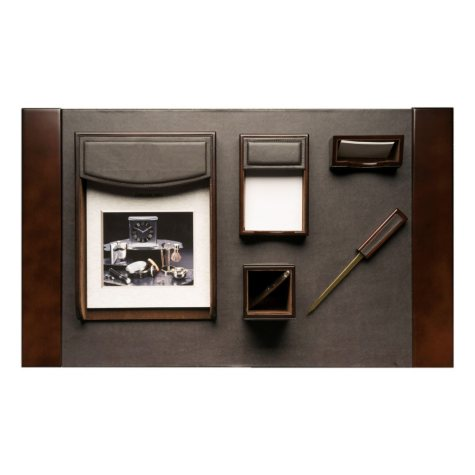 6-Piece Leather and Walnut Wood Desk Set