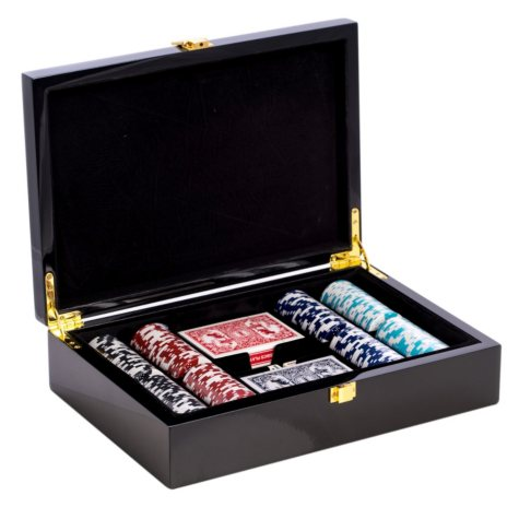 Poker Set with 200 Clay Composite Chips, Two Decks of Playing Cards & 5 Poker Dice in a High-Lacquer Case