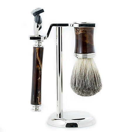 Razor & Pure Badger Brush with Marbleized Brown Enamel on Chrome Stand