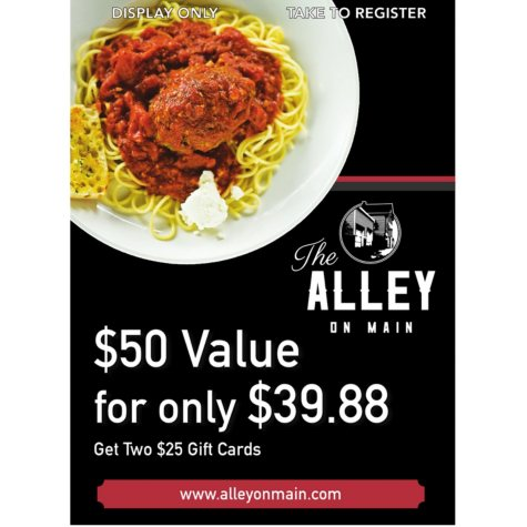 Alley On Main - 2 x $25 Giftcards