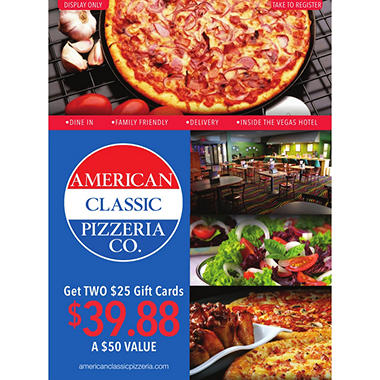 American Pizzeria - 2 x $25 Giftcards