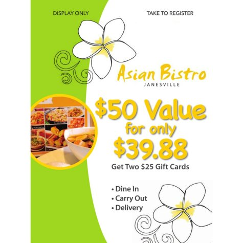 Asian Bistro - 2 x $25 Giftcards
