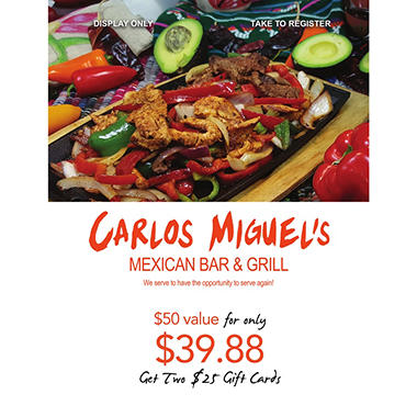Carlos Miguel's - 2 x $25 for $39.88