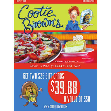 Cootie Brown's - 2 x $25 Giftcards