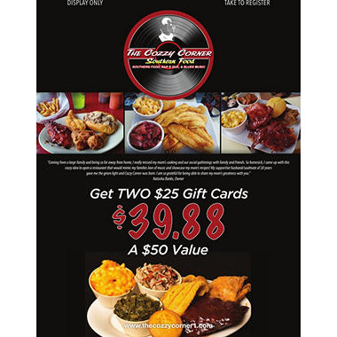 Cozzy Corner - 2 x $25 Giftcards
