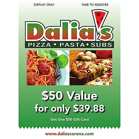 Dalias Pizza - 1 x $50 Gift Card