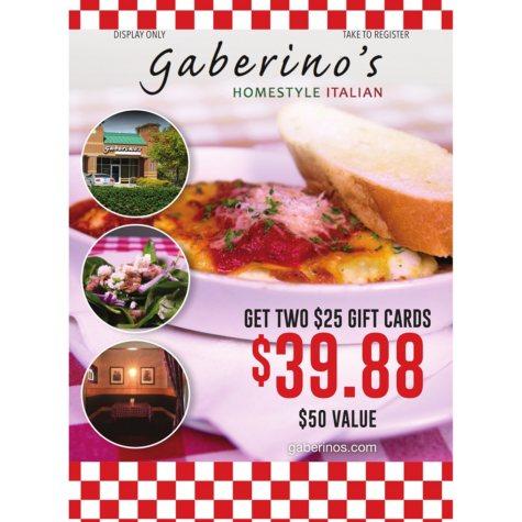 Gaberino's Italian - 2 x $25 Giftcards