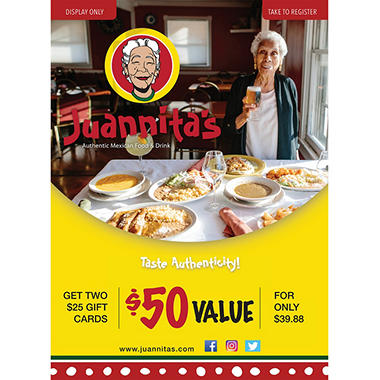 Juannita's - 2 x $25 Giftcards