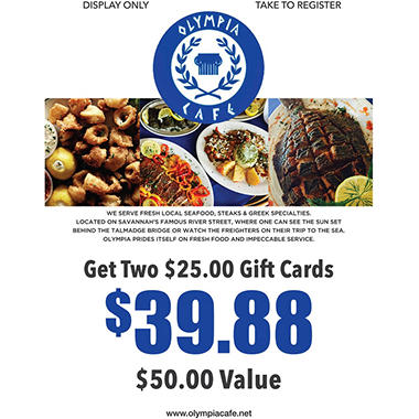 Olympia Cafe Inc - 2 x $25 Giftcards