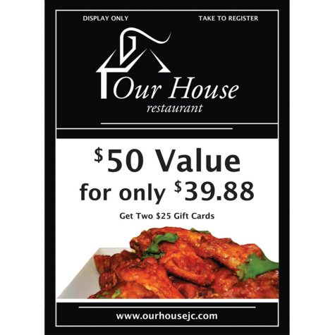 Our House Restaurant - 2 x $25 Giftcards