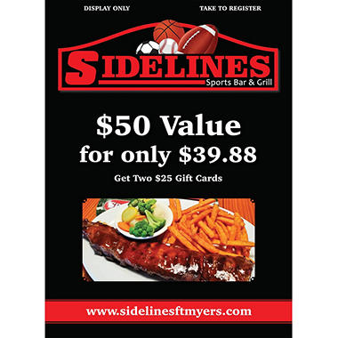 Sidelines - 2 x $25 Giftcards