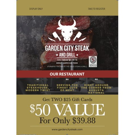 Snug Steak And Grill - 2 x $25 Giftcards