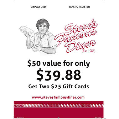 Steve's Famous Diner - 2 x $25 Giftcards