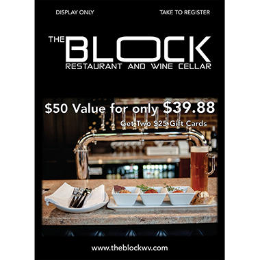 The Block Restaurant - 2 x $25 Giftcards