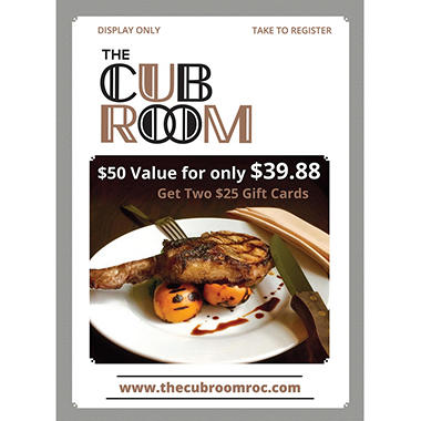 The Cub Room - 2 x $25 Giftcards