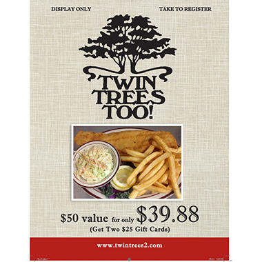 Twin Trees Too - 2 x $25 Giftcards