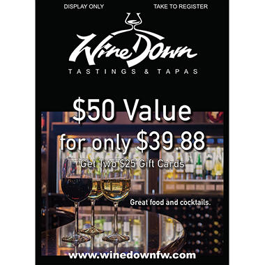 Wine Down - 2 x $25 Giftcards