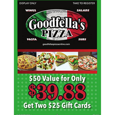 Good Fellas Pizza - 2 x $25 Giftcards