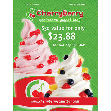 Cherry Berry (Bismarck, ND) $30 Value Gift Cards - 2 x $15