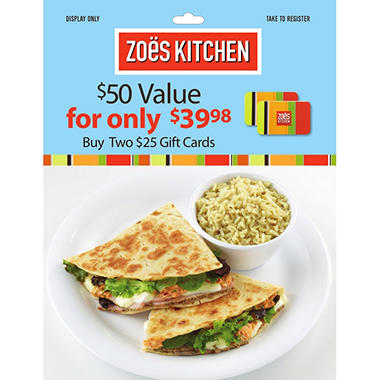 zoes kitchen 50 value gift cards 2 x 25 - Zoes Kitchen Tallahassee